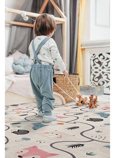 Hamur Trace 150x150 cm Oyun Matı Bebek ve Çocuk Halısı Gri